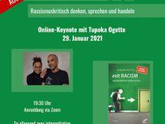 """Online-Keynote mit Tupoka Ogette """"Exit RACISM – Rassismuskritisch denken, sprechen und handeln"""" (ausgebucht)"""